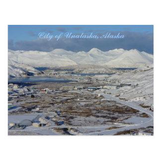 Carte Postale Ville d'Unalaska en hiver, île d'Unalaska