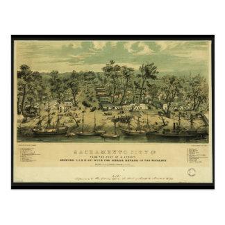 Carte Postale Ville la Californie de Sacramento en 1849 par des