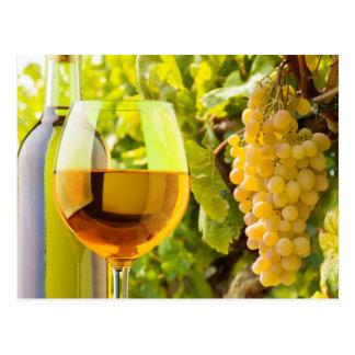Carte Postale Vin blanc et raisins