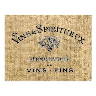 Carte Postale Vin français sur la toile de jute