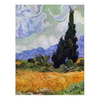 Carte Postale Vincent van Gogh - champ de blé avec des cyprès