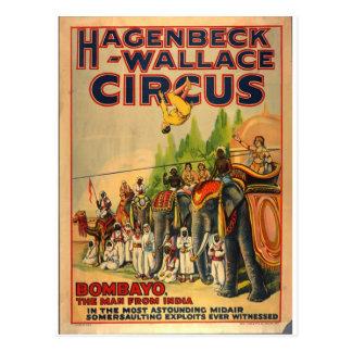 Carte postale vintage Bombayo de cirque de