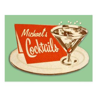 Carte postale vintage - cocktails en verre de