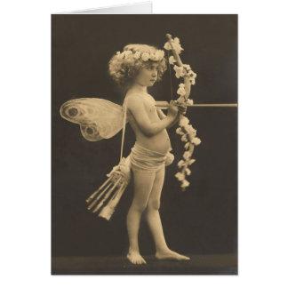 Carte postale vintage - cupidon de petite fille
