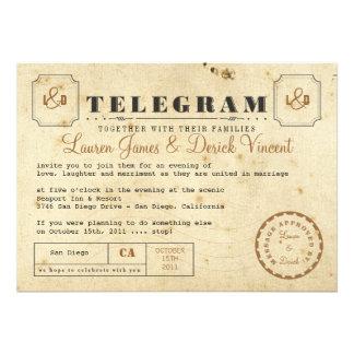 Carte postale vintage d invitation de télégramme