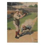 Carte postale vintage d'affiche de base-ball