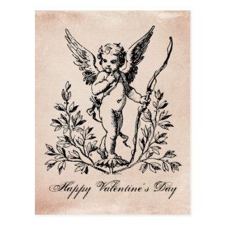 Carte postale vintage d'ange de Valentine de
