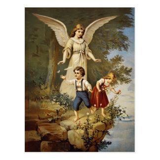 Carte postale vintage d'ange gardien