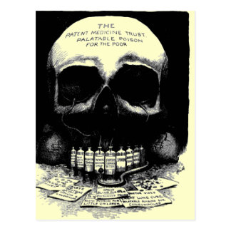 Carte postale vintage d'annonce de drogue de crâne