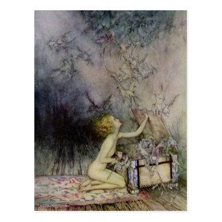 Carte postale vintage d'art de boite de Pandore