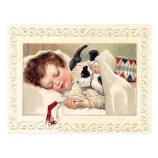 Carte postale vintage d'assoupissement de Noël