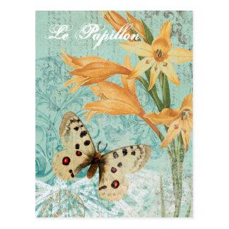 Carte postale vintage de Butterfy et de lis