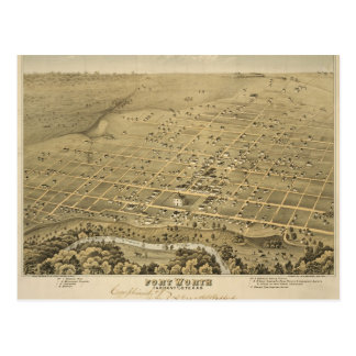 Carte postale vintage de carte de Fort Worth