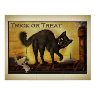 Carte postale vintage de chat noir