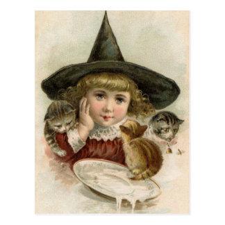 Carte postale vintage de chatons de sorcière de