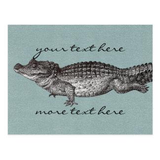 Carte postale vintage de crocodile
