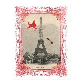 Carte postale vintage de cupidon de Paris