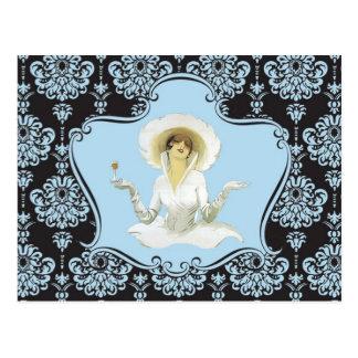 Carte postale vintage de dame de vin