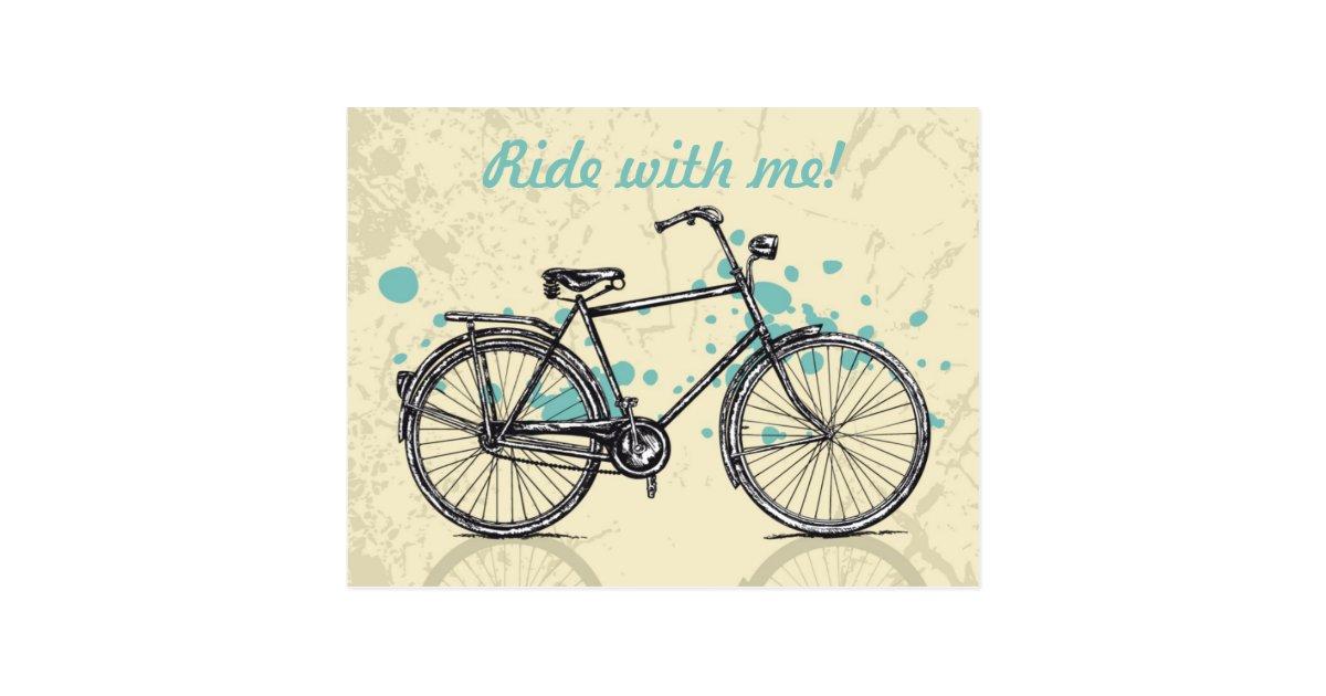 Carte postale vintage de dessin de bicyclette - Dessin bicyclette ...