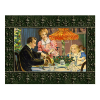 Carte postale vintage de dîner de Noël de famille