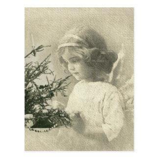 Carte postale vintage de fille d'ange de Noël