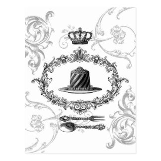 carte postale vintage de gâteau de Français