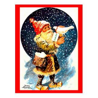 Carte postale vintage de gnome de Noël de Tomte de