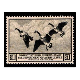 Carte postale vintage de graphique de timbre de