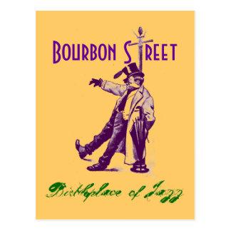 Carte postale vintage de jazz de NOLA de rue de