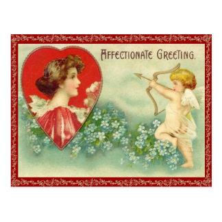 Carte postale vintage de la flèche du cupidon