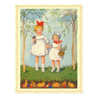 Carte postale vintage de lapin de Pâques