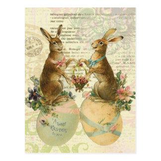 Carte postale vintage de lapins de Pâques de
