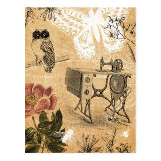 Carte postale vintage de machine à coudre