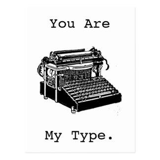 Carte postale vintage de machine à écrire