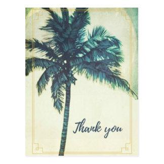 Carte postale vintage de Merci de plage de palmier