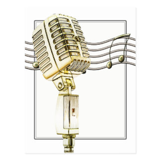 Carte postale vintage de microphone