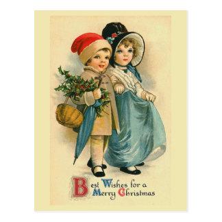 """Carte postale vintage de Noël de """"deux enfants dou"""
