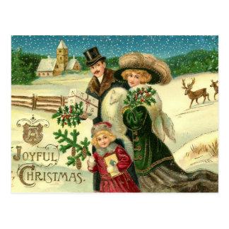 Carte postale vintage de Noël de Noël joyeux