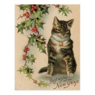 Carte postale vintage de Noël de nouvelle année de