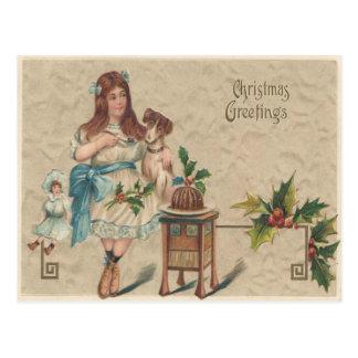 Carte postale vintage de Noël de salutations de