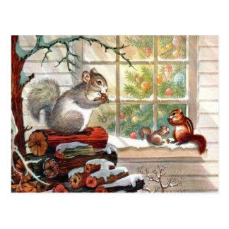 Carte postale vintage de Noël d'écureuils