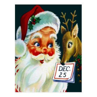 Carte postale vintage de Noël du père noël et de