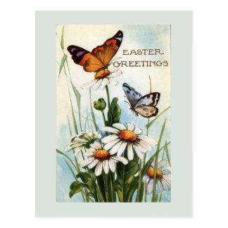 Carte postale vintage de papillons de Pâques