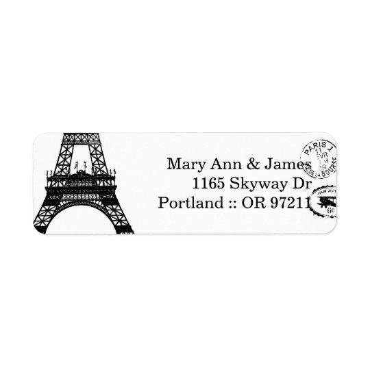 Carte postale vintage de Paris d'adresse élégante Étiquette D'adresse Retour