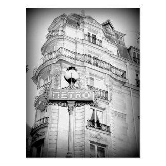 Carte postale vintage de Paris de style, signe de