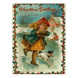 Carte postale vintage de patinage de glace de Noël