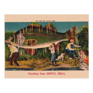 Carte postale vintage de pêche de l'Oklahoma de
