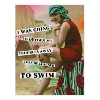 Carte postale vintage de photo de bébé de plage