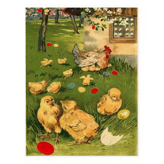Carte postale vintage de poussin de Pâques