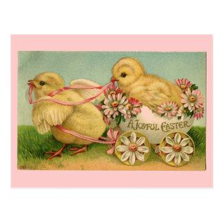 Carte postale vintage de poussins de Pâques
